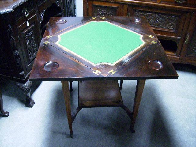アンティーク 家具 テーブル・ダイニングセット ゲームテーブル(折りたたみ式・象嵌)