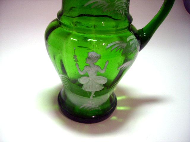 アンティーク ガラス グリーン・ブルー系 マリー・グレゴリー エナメル彩 グリーン