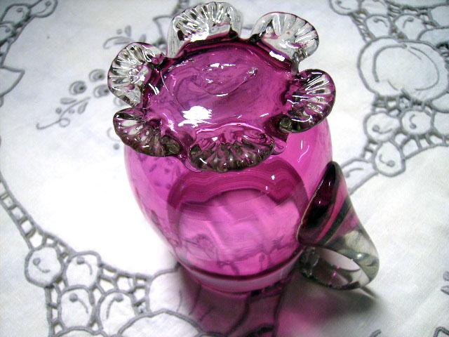 アンティーク ガラス 赤系 クランベリー・ルービーなど クランベリー ジャグ
