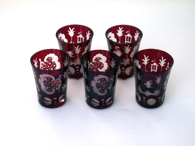 アンティーク ガラス 赤系 クランベリー・ルービーなど ボヘミアン デカンタ&グラス セット ルビー 119-GLS64とSet