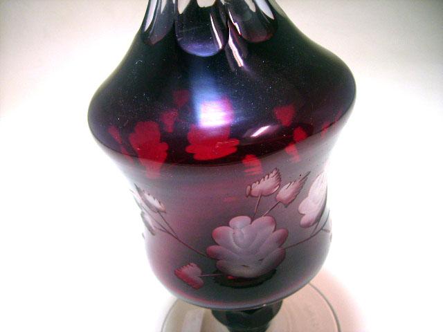 アンティーク ガラス 赤系 クランベリー・ルービーなど ボヘミアン カットグラス デカンタ ルビー