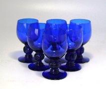 グラス シェリーグラス ブルー 小(6個)セット,アンティーク ガラス,グリーン・ブルー系