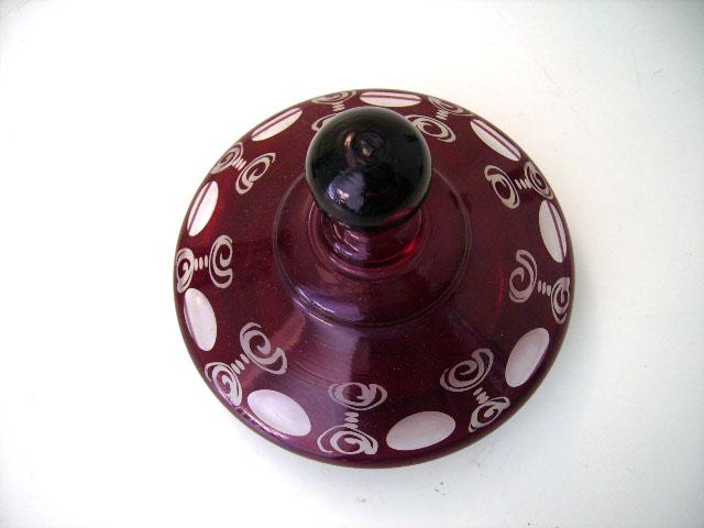 アンティーク ガラス 赤系 クランベリー・ルービーなど ボヘミアン ルビー カットグラス ペア
