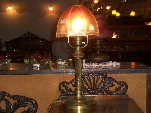 アンティーク 照明 ランプ(すでに組み合わせられている照明) ランプ スタンド 真鋳 &シェード(No.340)