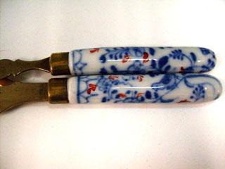 アンティーク その他 カトラリー ナイフ&フォーク セット 陶器ハンドル(6)