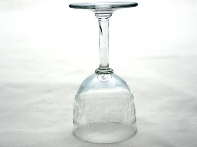 アンティーク ガラス クリアー系 ワイングラス keyパターン (5客セット)