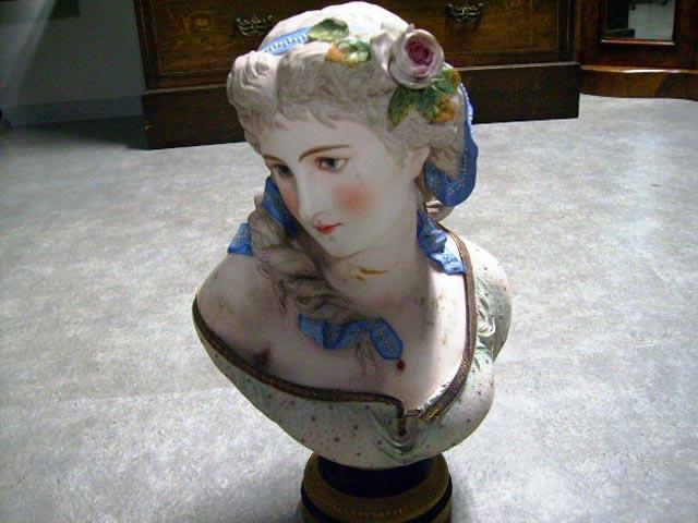 アンティーク 陶磁器 その他 ビスク 女性 胸像