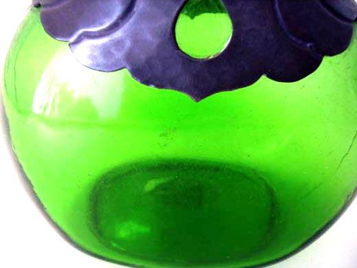 アンティーク ガラス グリーン・ブルー系 ジャグ グリーン ピューター