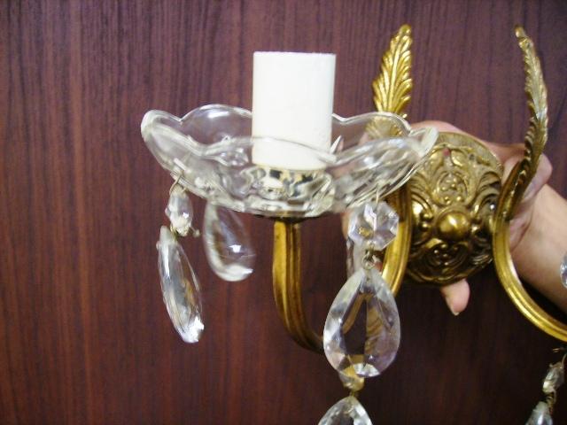 ウォールランプ クリスタル 2灯 1個 59800円,アンティーク 照明,ランプ(すでに組み合わせられている照明)