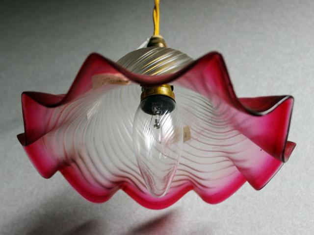 アンティーク 照明 シェード シェード クランベリー