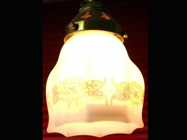 アンティーク 照明 シェード シェード ホワイト・花柄