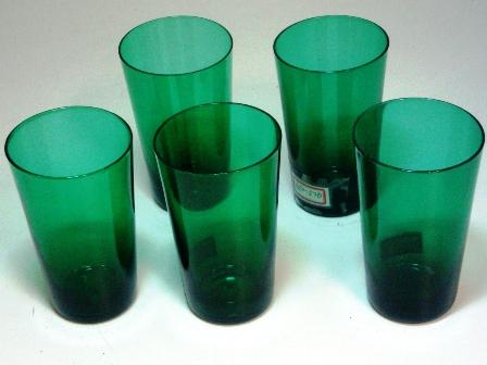 アンティーク ガラス グリーン・ブルー系 グラス グリーン (左から2番目)