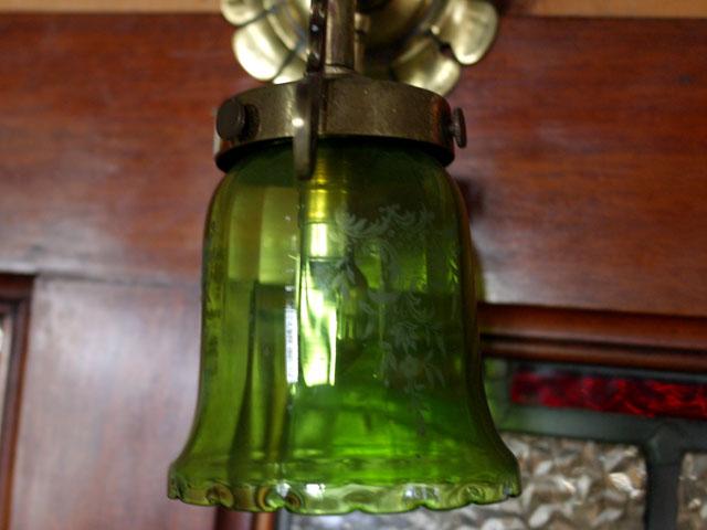 アンティーク 照明 シェード シェード エッジング グリーン