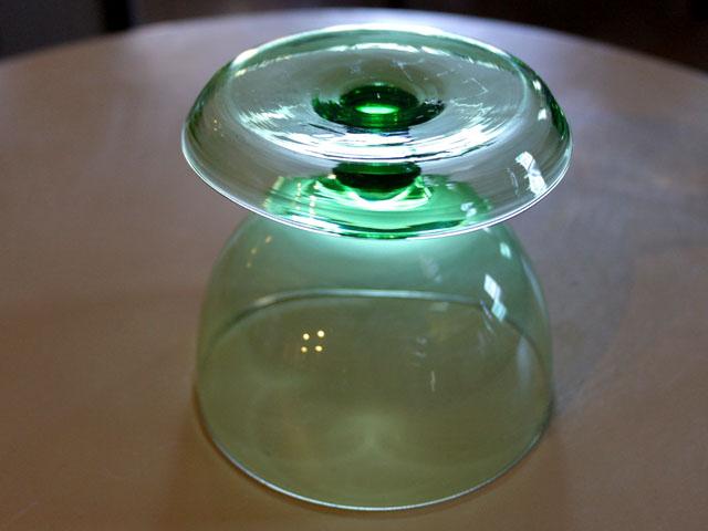 アンティーク ガラス グリーン・ブルー系 アイスクリームグラス グリーン (6個セット)