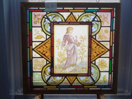 ステンドグラス (エナメル彩色の女性画付き) 8 アンティーク 建材 ステンドグラス