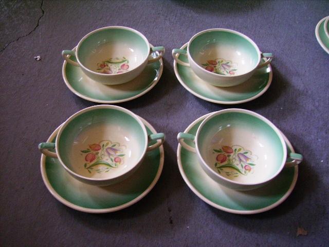 アンティーク 陶磁器 スージー クーパー スージークーパー(Susie Cooper) ドレスデン・スプレイ (Dresden Spray) スープカップ(1)(2)(3)(4) 4客セット