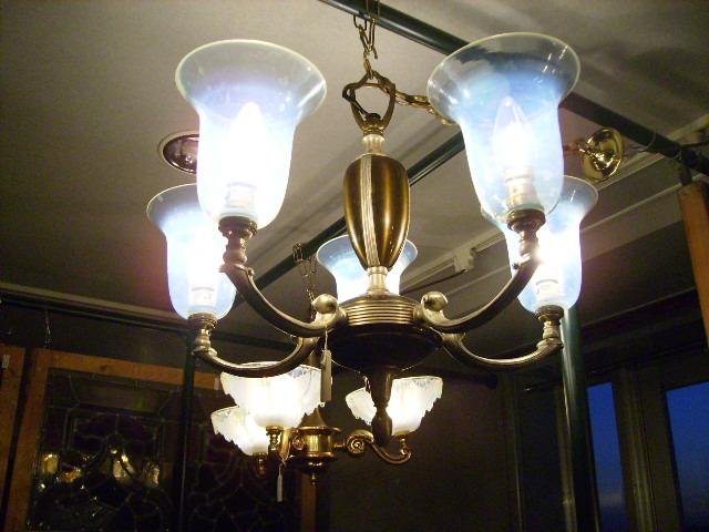 5灯 シャンデリア (4269 ヴァセリン シェード 5個付き) アンティーク 照明 シャンデリア・ハンギングランプ