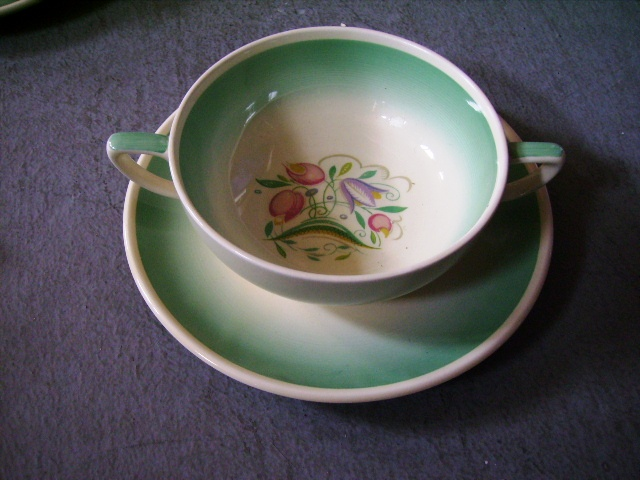 スージークーパー ドレスデンスプレイ スープカップ(1)(2)(3)(4) 4客セット 75000円,アンティーク 陶磁器,スージークーパー
