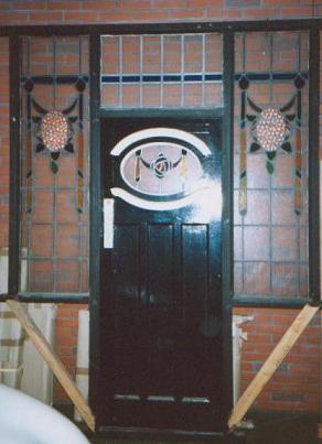 アンティーク 建材 ドア ドア+ステンド・ウィンドウ セット
