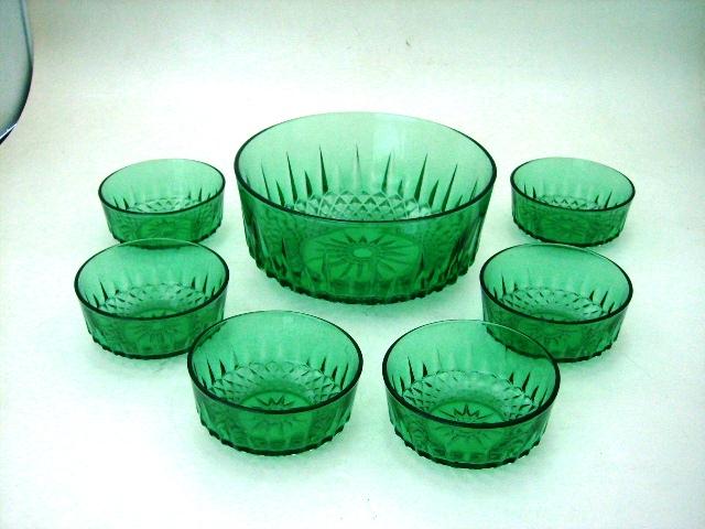 アンティーク ガラス グリーン・ブルー系 グリーンガラスボールセット 大1、小6