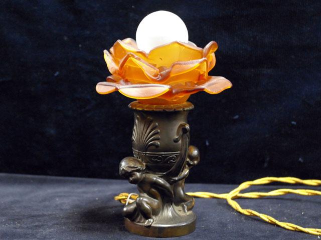 アンティーク 照明 ランプ(すでに組み合わせられている照明) スタンドランプ オレンジバラ1灯