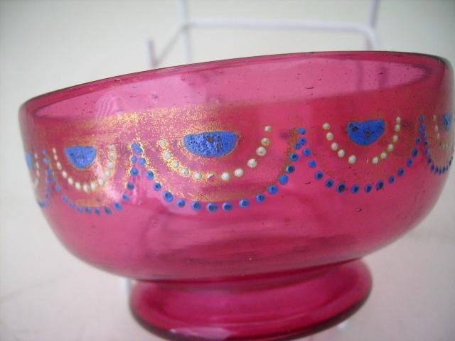 アンティーク ガラス 赤系 クランベリー・ルービーなど クランベリー ガラスボール&プレート エナメル彩