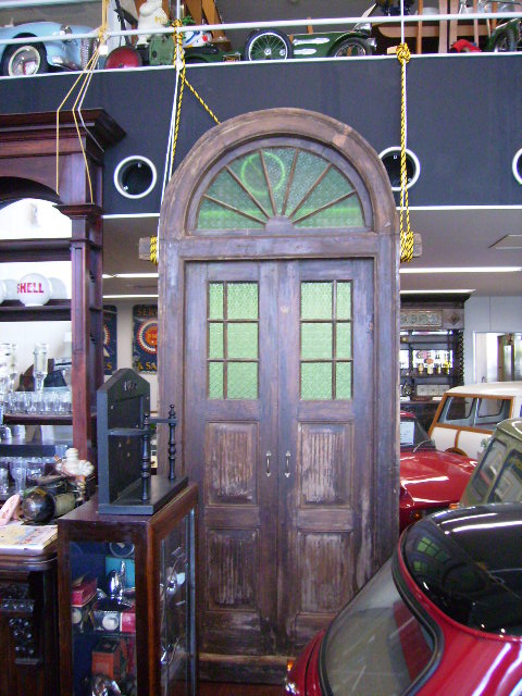 BIG ドア ステンド入り (1)(2),アンティーク 建材,ドア