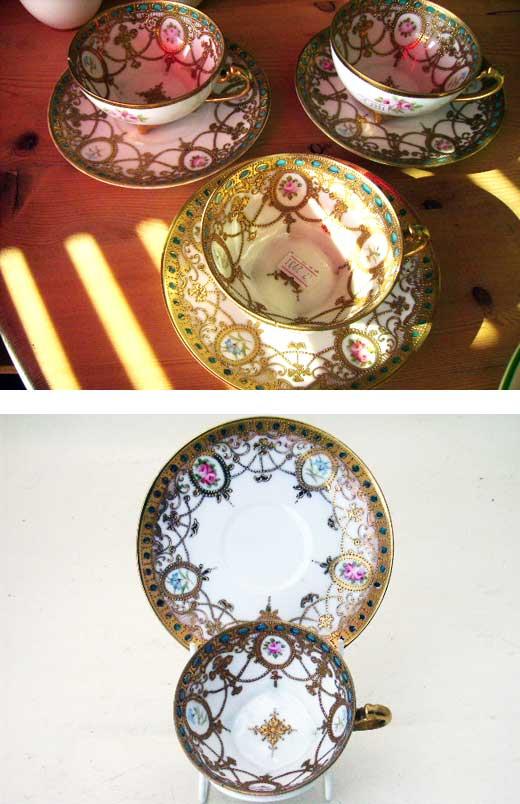 オールドノリタケ カップ&ソーサー 3客セット(ばら売り有り),アンティーク 陶磁器,食器 カップ&ソーサー他