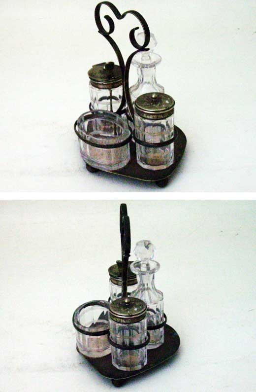 アンティーク ガラス クリアー系 調味料セット