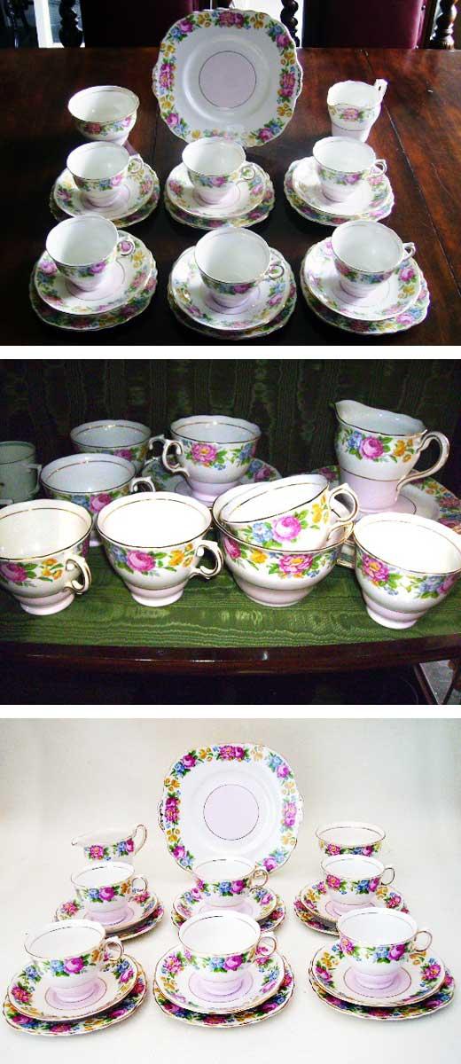 コルクラフColclough トリオ6客+シュガーボール+ミルクジャー+ソーサー,アンティーク 陶磁器,食器 カップ&ソーサー他