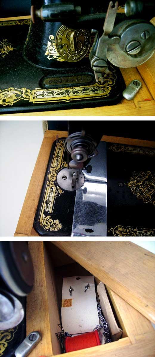 ビンテージ/コレクタブル 機械もの SINGER  手動ミシン 箱付き
