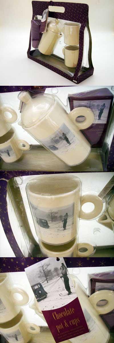 雑貨(キッチン) 雑貨陶器 デミタスカップX2&ポット 未使用