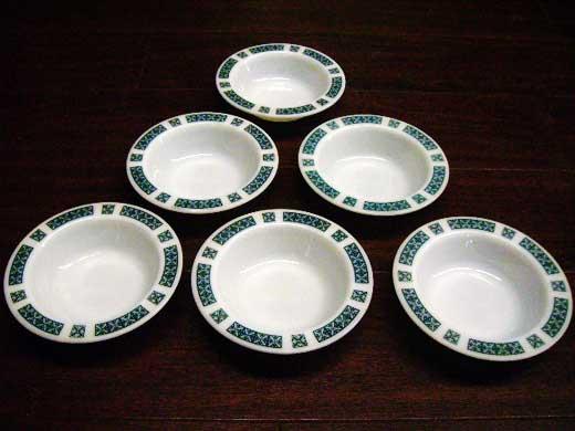 英国JAJ社製(Chelsea) フルーツボール(小) 6枚セット アンティーク ガラス テーブル&キッチンウェア