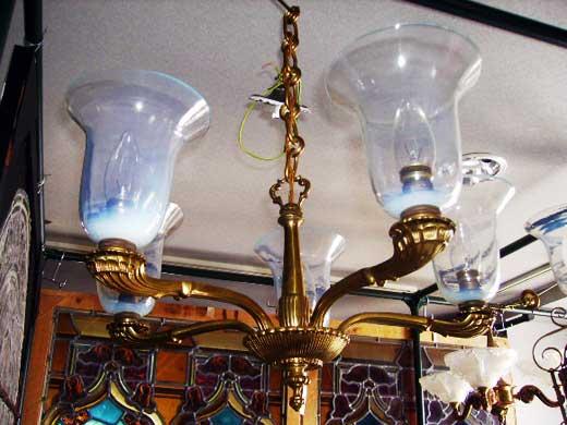5灯 シャンデリア ヴァセリンシェード 5個付き アンティーク 照明 シャンデリア・ハンギングランプ