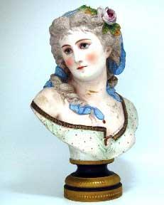 ビスク 女性 胸像,アンティーク 陶磁器,その他