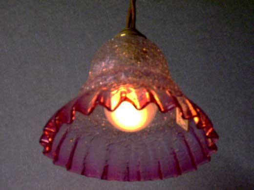 シェード クランベリー・クラックド,アンティーク 照明,シェード