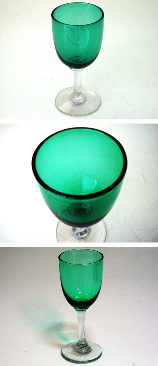 ワイングラス グリーン ペア(2個),アンティーク ガラス,グリーン・ブルー系