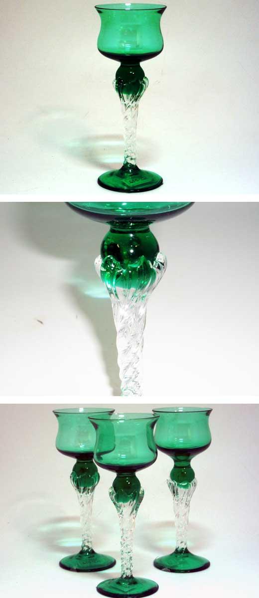 アンティーク ガラス グリーン・ブルー系 グラス シェリーグラス グリーン(3個)セット