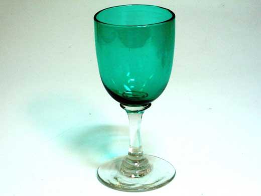 グラス ワイングラス グリーン 3個,アンティーク ガラス,グリーン・ブルー系