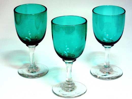 アンティーク ガラス グリーン・ブルー系 グラス ワイングラス グリーン 3個