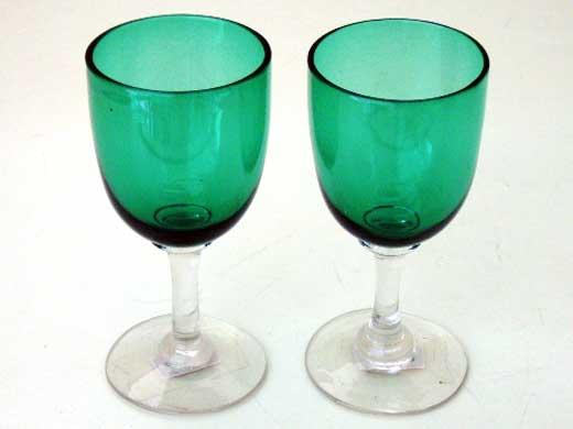 アンティーク ガラス グリーン・ブルー系 ワイングラス グリーン ペア(2個)