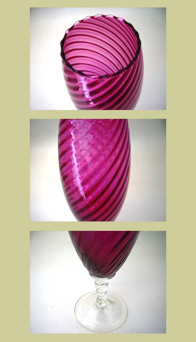 アンティーク ガラス 赤系 クランベリー・ルービーなど バーズ(花器) クランベリー
