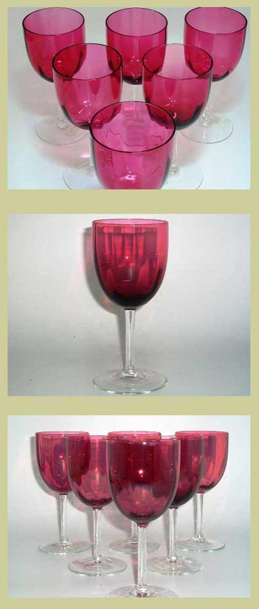 アンティーク ガラス 赤系 クランベリー・ルービーなど ワイングラス クランベリー 6個セット