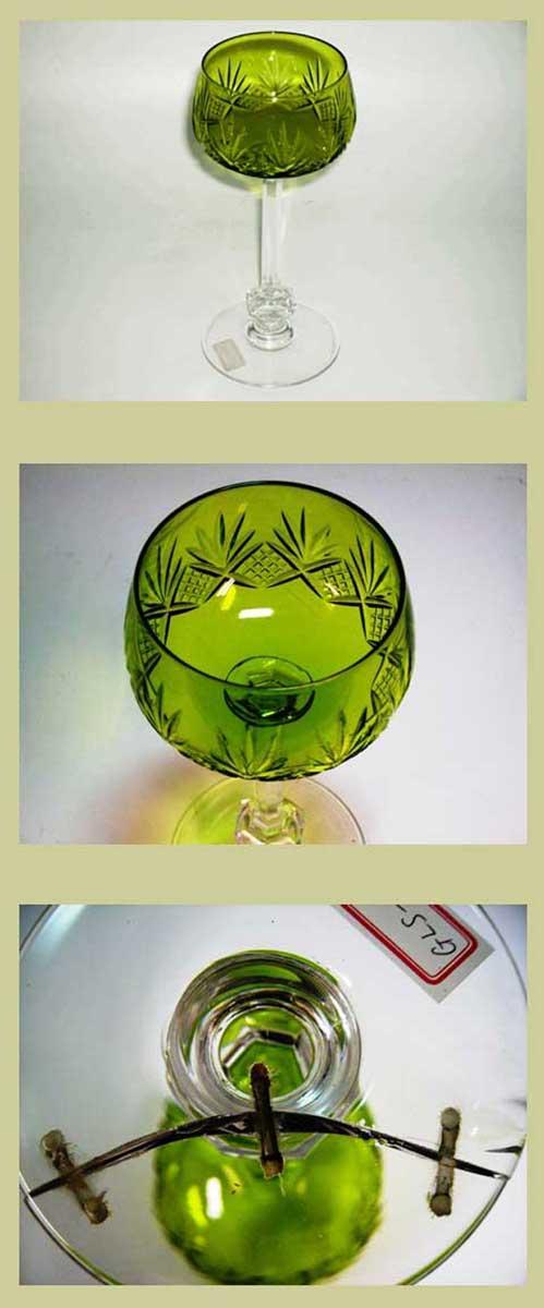グラス ワイングラス ライムグリーン(6ヶ)セット,アンティーク ガラス,グリーン・ブルー系