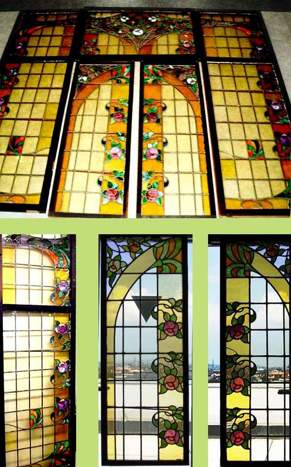 ステンドグラス セット(ローズ)7枚セット アンティーク 建材 ステンドグラス