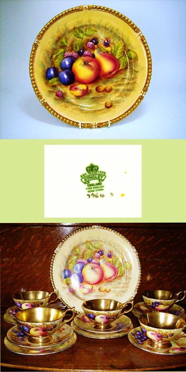 アンティーク 陶磁器 食器 カップ&ソーサー他 エインズレイ(Aynsley) プレート  22金