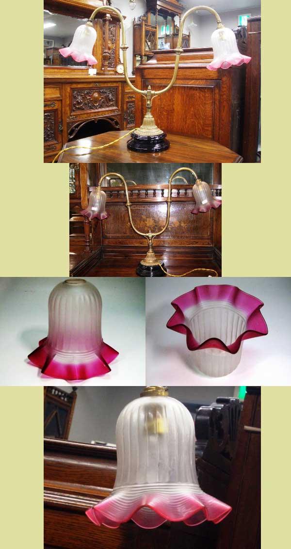 アンティーク 照明 ランプ(すでに組み合わせられている照明) ランプスタンド 2灯用 (シェード付き)
