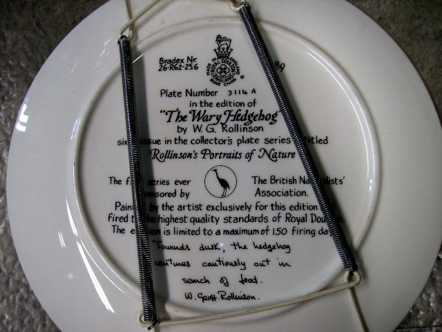 アンティーク 陶磁器 飾り用プレート ロイヤルドルトン(Royal Doulton)  ウォールプレート The Wary Hedgehog 箱付き シリアルナンバー入り