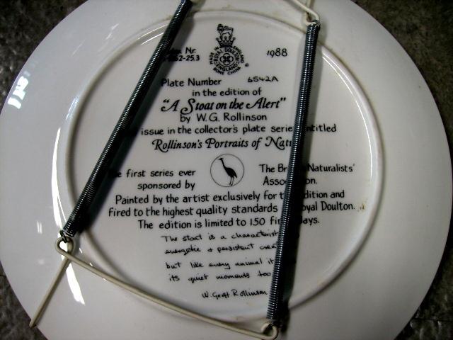 ロイヤルドルトン(Royal Doulton)  ウォールプレート  A stoat on the Alert  箱付き シリアルナンバー入り アンティーク 陶磁器 飾り用プレート