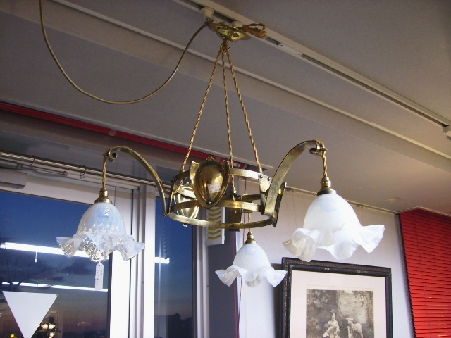 3灯 シャンデリア (4277・4770 シェード付き),アンティーク 照明,シャンデリア・ハンギングランプ